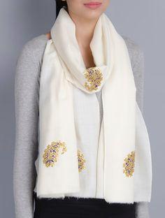 Ivory Cashmere Wool Gota Patti Hand Embellished Stole on Jaypore.com Indian Attire, Indian Outfits, Velvet Shawl, Modest Fashion Hijab, Rajputi Dress, Satin Saree, Pashmina Shawl, Designer Scarves, Scarf Design