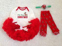 my first christmas baby girls christmas pettiskirt by babytrendzz