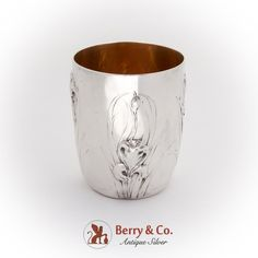 """Art Nouveau French standard 950 sterling silver beaker or cup having gilt interior and repousse floral decorations. There is engraved inscription """"Virginia Foote Xmas on the bottom. Made by Henin & Cie. Floral Decorations, Curved Lines, Natural Forms, Antique Silver, Art Nouveau, Virginia, Candle Holders, Xmas, French"""