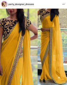 Georgette Border Work Yellow Plain Saree - at INR 1499 Modern Indian Sari Press VISIT link above for more options Saree Blouse Patterns, Saree Blouse Designs, Plain Saree With Heavy Blouse, Black Saree Plain, Indian Dresses, Indian Outfits, Indian Clothes, Sari Bluse, Indische Sarees