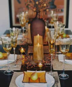 Great contrast - golds, oranges, beige, black table...