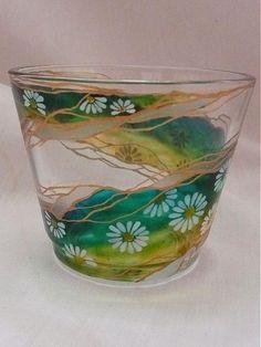 Svietnik na čajovú sviečku - margarétky by E.G.ART - SAShE.sk - Handmade Svietidlá a sviečky