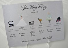 Wedding Timeline Card by pixelstopaper on Etsy, $1.40