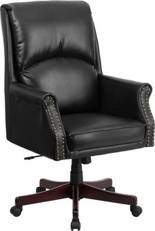 High Back Pillow Black Leather Executive Swivel Office Chair BT 9025H 2