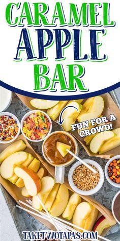 DIY CARAMEL APPLE BAR {Fun Fall Food!} Take Two Tapas Acorn Squash Recipes, Pumpkin Pie Recipes, Fall Recipes, Holiday Recipes, Best Party Food, Party Food And Drinks, Caramel Apple Bars, Caramel Apples, Pumpkin Shake