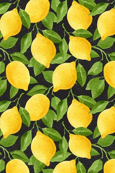 Watercolor Lemons on Black by helga_wigandt - Bold yellow lemons on a black background on fabric, wallpaper, and gift wrap.