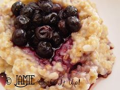 Steel cut oats - great breakfast choice for a cold day.  I add frozen organic wild blueberries and 1 scoop of vanilla protein powder to increase the fullness factor.