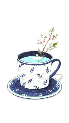 Image about text in cute by Adriana Velazquez Cup Flowers Quotes Tumblr, Flower Quotes, Books And Tea, Buch Design, Design Art, Tea Art, Foto Art, Food Illustrations, Cute Illustration