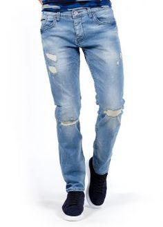Açık Mavi Dizden Dikiş Detaylı Tarz Erkek Kot Pantolon