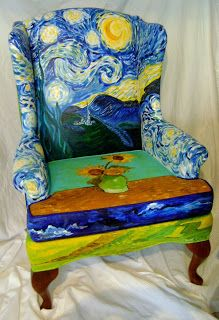 Faux Van Gogh Starry Night Upholstered Chair - re-upholstering inspiration. Jdp