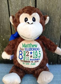 Personalized baby gift monogrammed monkey birth announcement personalized baby gift monogrammed monkey birth announcement personalized by world class embroidery babies and grandkids negle Image collections