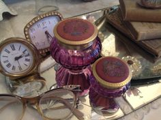 Vintage Set Of Two Purple  Avon Jars Lids by nanciesvintagenest, $20.00