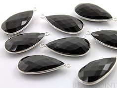 Natural Black Onyx Bezel Pear Shape Gemstone by Beadspoint on Etsy, $9.99