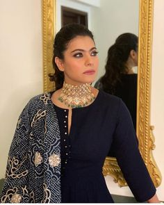 Stunning Kajol in a blue Anarkali gown with Bandini style dupatta with polki choker as a neck piece for a jewellery shop opening event. Celebrity Wedding Dresses, Celebrity Outfits, Celebrity Style, Wedding Gowns, Salwar Designs, Blouse Designs, Mehndi Designs, Beautiful Saree, Beautiful Indian Actress