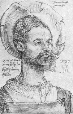 """Portrait of Captain Felix Hungersperg"", 1520 - Albrecht Dürer Renaissance Kunst, Die Renaissance, Renaissance Portraits, Pierre Auguste Renoir, Auguste Rodin, Albrecht Dürer, Landsknecht, Portrait Sketches, Art Database"