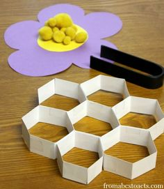 bumblebee pollen transfer- learning activity working on fine motor skills, counting, shapes etc Preschool Science Activities, Preschool At Home, Spring Activities, Motor Activities, Preschool Activities, Pirate Activities, Insect Activities, Science Classroom, Bee Crafts