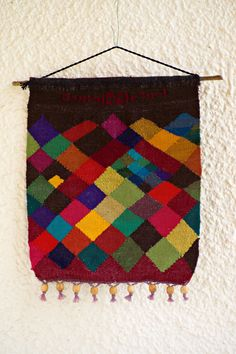 """Hand woven wall hanging - Hebrew writing at the top reads  """"Let there be light"""" - Etsy"""