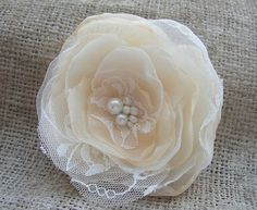 Pale Peach Ivory Fabric Flower Hair Aligator Clip by FloroMondo, $18.00