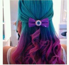 Blue-purple-pink ombre hair