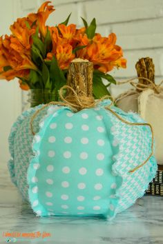 These easy fabric pumpkins have fun, outward frayed seams that give them a vintage, rustic look. They're simple to make and budget-friendly, too. Autumn Crafts, Thanksgiving Crafts, Holiday Crafts, Holiday Ideas, Easy Yarn Crafts, Fabric Crafts, Sewing Crafts, Halloween Cookies, Halloween Crafts
