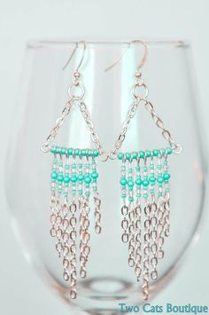 Chain dangle earrings silver plated aqua beads by twocatsboutique, $19.00