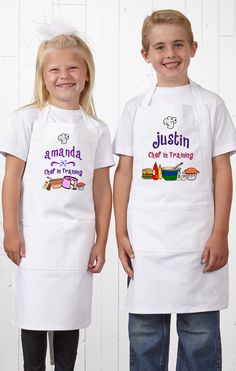 """LOVE these cute personalized kids aprons! They're perfect for getting your kids to help you in the kitchen so you can teach them all about cooking healthy meals! You can pick from 2 """"Chef in Training"""" designs and personalize it with any name!"""