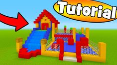 "Minecraft Tutorial: How To Make A Bouncy House House With a Water Slide ""Bouncy House Tutorial"" Minecraft Park, Minecraft Shops, Cute Minecraft Houses, Minecraft Banner Designs, Minecraft House Tutorials, Minecraft Banners, Amazing Minecraft, Minecraft Decorations, Minecraft House Designs"