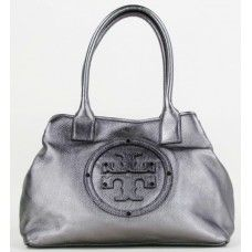 Tory Burch Pewter Pebbled Leather Stacked Logo Classic Tote Bag