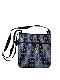 Tommy Hilfiger Womens Crossbody Handbags Purse (White/Navy Cross Logo) * Learn more by visiting the image link.