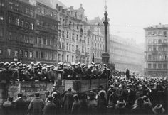 Troops loyal to Nazi leader Adolf Hitler arrive in Munich in November 1923 during Hitler's attempted takeover of government offices there, which he hoped would ignite a nationwide revolt and bring down Germany's democratic government.