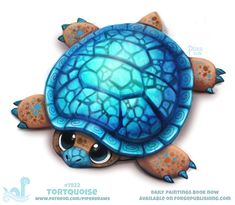 Daily Paint Tortquoise by Cryptid-Creations on DeviantArt Cute Food Drawings, Cute Animal Drawings, Kawaii Drawings, Horse Drawings, Cute Fantasy Creatures, Cute Creatures, Mythical Creatures, Animal Puns, Animal Food