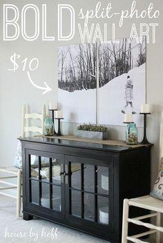 bold split photo wall decor, design d cor, diy home crafts, Perfect and cheap wall art Cheap Wall Art, Diy Wall Art, Cheap Art, Diy Home Decor, Room Decor, Decor Crafts, Diy Crafts, Art Decor, Photo Wall Decor