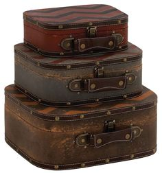 Zig Zag Pattern Faux Leather Wood Suitcase Storage Box Set of 3