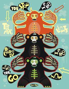 Illustrations by Exit Man Source Of Inspiration, Design Inspiration, Traffic Light, Creative Art, Illustration Art, Illustrations, Typography, The Incredibles, Graphic Design