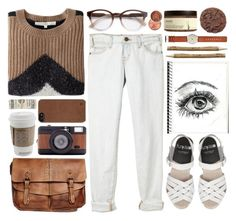 """""""*TOP SET* brown & white"""" by fashxo ❤ liked on Polyvore featuring Ahava, River Island, STELLA McCARTNEY, Current/Elliott, Chunk, O'2nd, Patricia Nash, Lomography and Incase"""