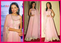 Amrita Rao looks elegant in a pink floor length anarkali by Kanika Kedia