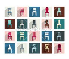 Συλλογή από διάφορες καρέκλες. μοντέρνα επίπεδη εικονόγραμμα σύνολο — Διανυσματικό Αρχείο © Kubko #39890379