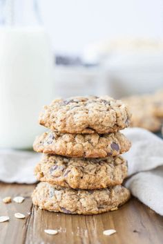 Soft and chewy oatmeal chocolate chip cookies.  Really good, but no need to chill for 1 hour, the dough is plenty firm and after 20 min in the fridge was hard as a rock!