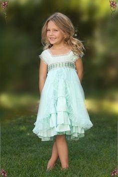 So lovely for little girls - Luna Luna is made in the USA and always very nice quality.  This dress is a favorite - I especially like this aqua and the lavender, but it comes in pink and ivory too.  Luna Luna Aqua Clara Dress