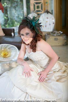 El contrapicado en una foto de la novia da para poder apreciar en detalle lo que usara para su boda