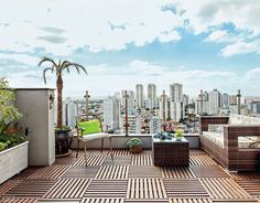 Telhado cinza de prédio vira solário com chuveirão e plantas - Casa