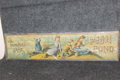 ANTIQUE 1890 VICTORIAN BY McLOUGHLIN BROS FISH POND COMPLETE ORIG BOX RARE