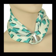 ANNE TOURAINE Paris™: Qube  scarf  and LARGE SCARF RING - ABALONE SHELL