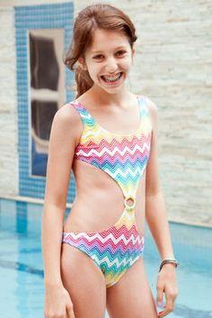 Zig-Zag Girl One Piece - Lemons & Limes Kids Swimwear #kidsswimwear #girlsonepiece #zigzag #chevron #kids #rainbow
