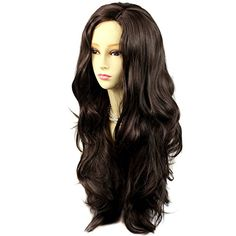 Sexy Fabulous Long Layers Wavy Wig Dark Coffee Brown Ladies Wigs Skin Top >>> Find out more about the great product at the image link.