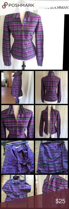 NWOT Dana Buchman Silk Multi Colored Zip Up Jacket Made in a vibrant pattern of striped/plaid violet-sage-lavender. This lightweight jacket features a shirt collar and hidden zippered front. The handle is of a square brass metal. Long sleeves with shirt cuffs and brass metal buttons. Extra button included. Jacket is semi lined in lavender. Also has two useable front pockets. Supreme quality and custom design. A plus to your wardrobe. NWOT 100% Silk. Sz 6. Dana Buchman Jackets & Coats