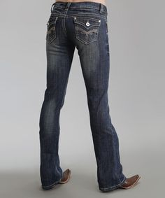 Love this Dark Indigo Sparkle Flap-Pocket 818 Bootcut Jeans - Women & Plus on #zulily! #zulilyfinds