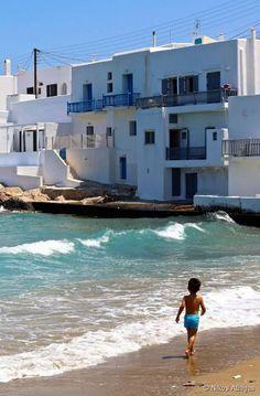 Naoussa, un village de pêcheurs traditionnel, situé sur l'île de Paro, Grèce.