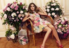 Marie Claire Spain Model: Olivia Palermo Photographer: Nacho Alegre Styled by: Enrique Campos Cover February 2013 Flower Embellished Floral Dress Pink Heels Beauty Hair