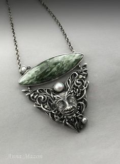 Mistletoe spirit  hand carved silver pendant with by drakonaria